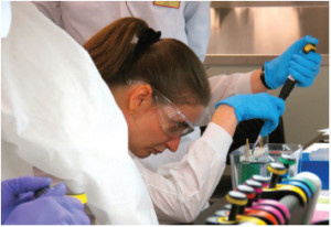May 2012 – Trainees learn SDS-PAGE for assessing influenza vaccine purity and identity in the QC/analytical lab of the BARDA-sponsored Fundamentals of cGMP Influenza Vaccine Manufacturing course at BTEC