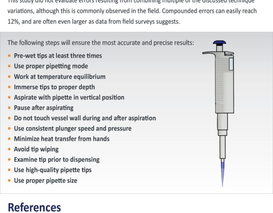 Best practices for micropipettes