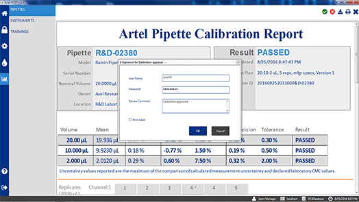 PCS pipette calibration software allows electronic signatures and regulatory compliance.